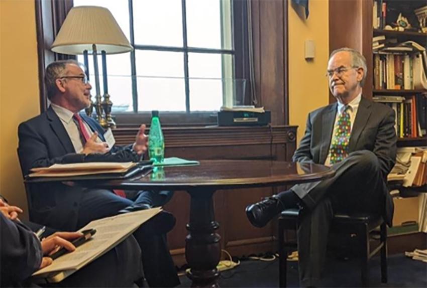 Dean Philippe Fauchet (left) meets with Rep. Jim Cooper (D-TN) in Washington, D.C. (Vanderbilt University)