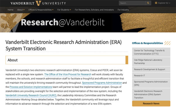 The Office of the Vice Provost for Research has launched a new Vanderbilt ERA system transition website.