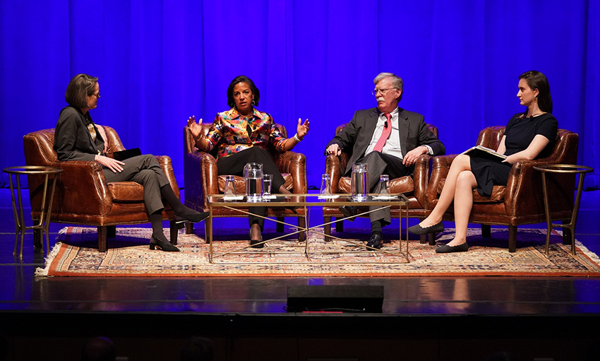 L-r: Vanderbilt Law School professor and Chancellor's Lecture Series moderator Ingrid Wuerth, Ambassador Susan Rice, Ambassador John Bolton and third-year law student and event moderator Hannah Miller. (Joe Howell/Vanderbilt)