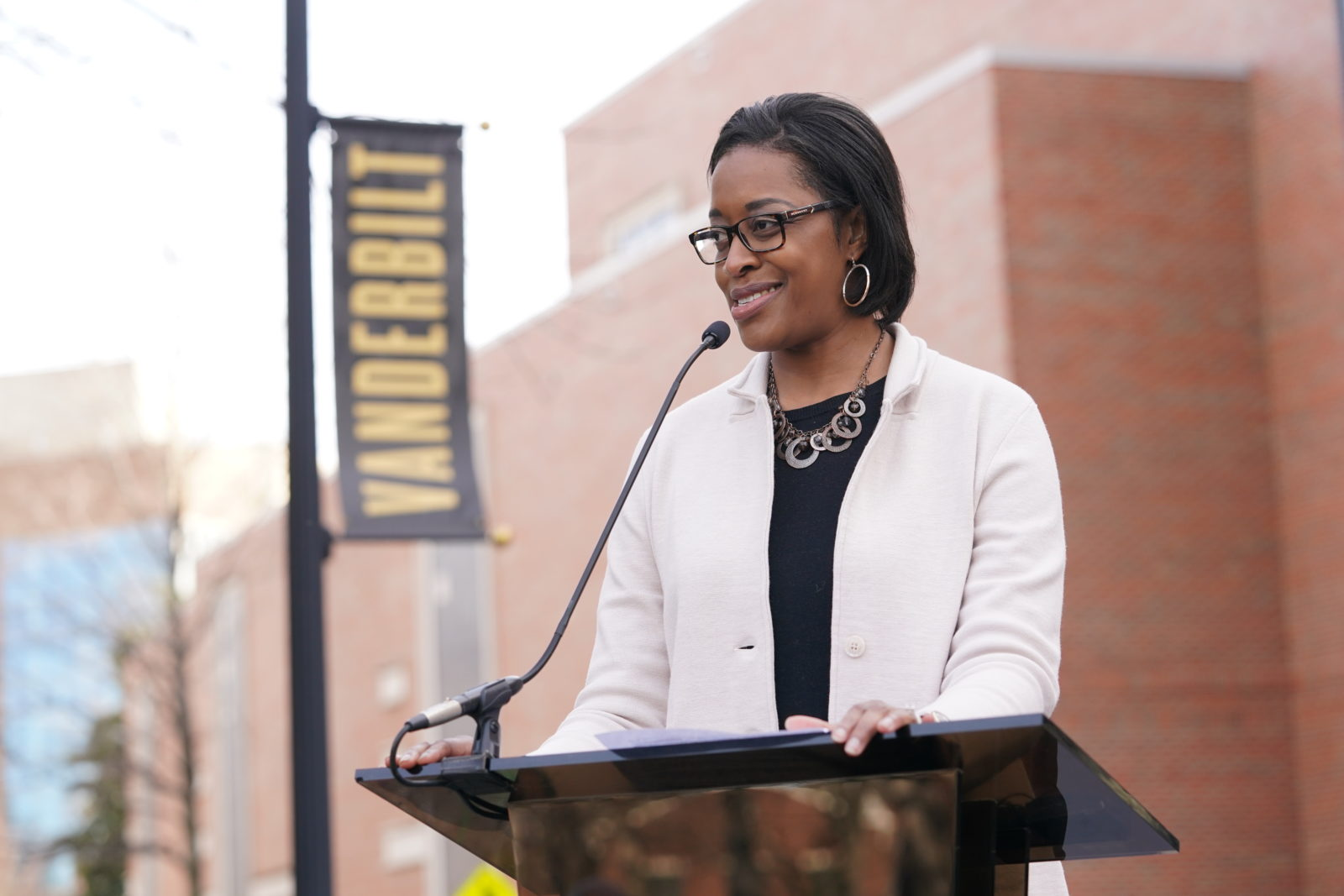 Interim Vice Chancellor for Athletics and University Affairs and Interim Athletic Director Candice Lee speaking at the dedication ceremony on Saturday, February 22. (John Russell/Vanderbilt)