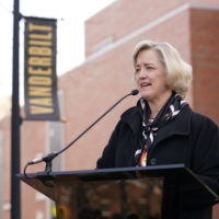 Interim Chancellor and Provost Susan R. Wente speaking at the Perry Wallace Way dedication ceremony on Saturday, February 22. (John Russell/Vanderbilt)