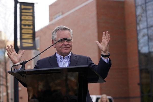 Nashville Mayor John Cooper speaking at the dedication ceremony for Perry Wallace Way on Saturday, February 22. (John Russell/Vanderbilt)