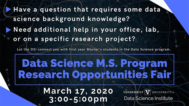 Data Science M.S. Program Research Opportunities Fair