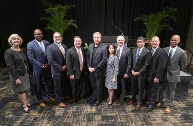 (L to r) Interim Chancellor and Provost Susan R. Wente, Bunmi O. Olatunji, Craig L. Duvall, Rick W. Wright, Seth R. Bordenstein, Cathy Eng, David Lubinski, Nilanjan Sarkar, Mark R. Denison and Duane Watson (photo by Joe Howell/Vanderbilt University)