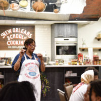 "At the New Orleans School of Cooking, students on the Black History Immersion Excursion received a demonstration and history lesson on Creole cooking. ""This was the best meal of the excursion,"" said Noble. (Rosevelt Noble/Vanderbilt)"
