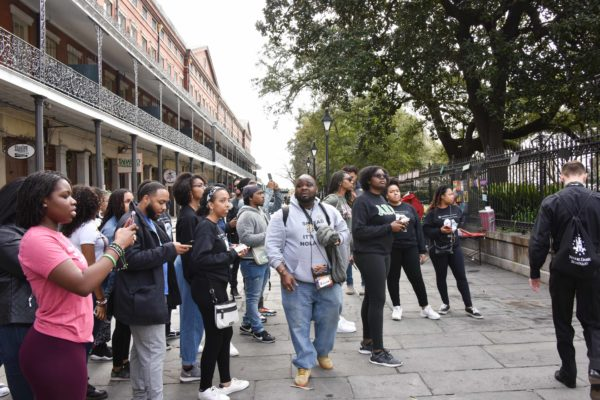 Participants on the Black History Immersion Excursion went on a walking tour of the French Quarter led by Known NOLA Tours. (Rosevelt Noble/Vanderbilt)