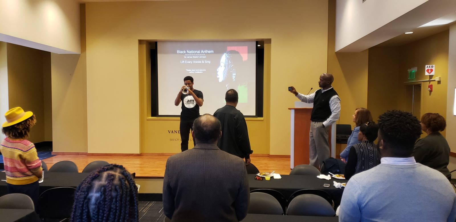 "Black History Month Closeout Luncheon. Vanderbilt student Jeffrey Huddleston played ""Lift Every Voice and Sing"" on the trumpet at the beginning of the program. (Jalen Blue/Vanderbilt)"