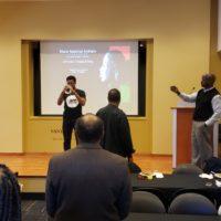 "Black History Month Closeout Luncheon. Vanderbilt student Jeffrey Huddleston played ""Lift Every Voice and Sing"" on the trumpet at the beginning of the program. (Jalen Blue/Vanderbilt)"