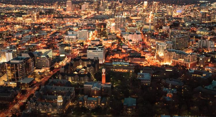 The Vanderbilt University campus and Nashville skyline at night. (Vanderbilt University)