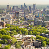 Aerial drone images of Vanderbilt main campus and Downtown Nashville. (John Russell/Vanderbilt University)