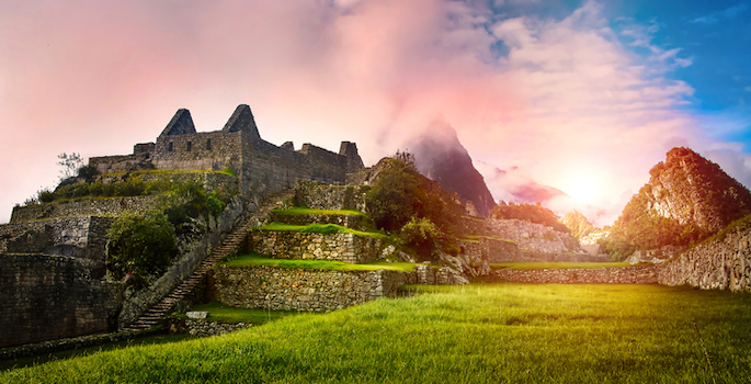Macchu Picchu ruins at sunrise