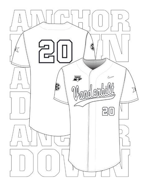 Vanderbilt Athletics Baseball Jersey coloring activity page