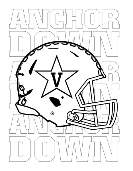 Vanderbilt Athletics Football Helmet coloring activity page