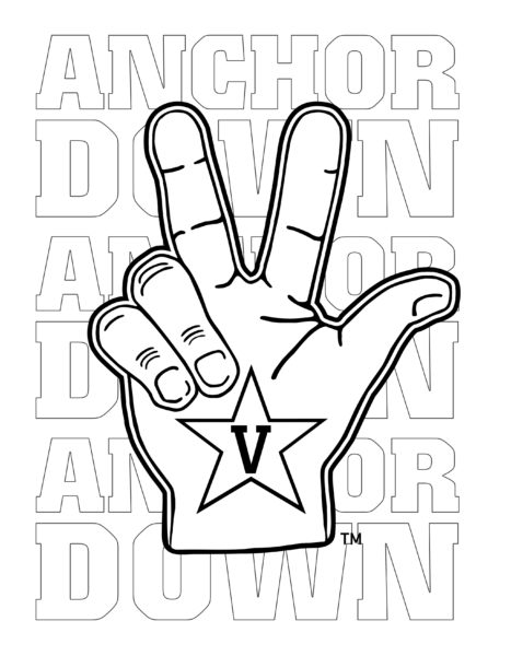 Anchor Down Hand Sign coloring activity page