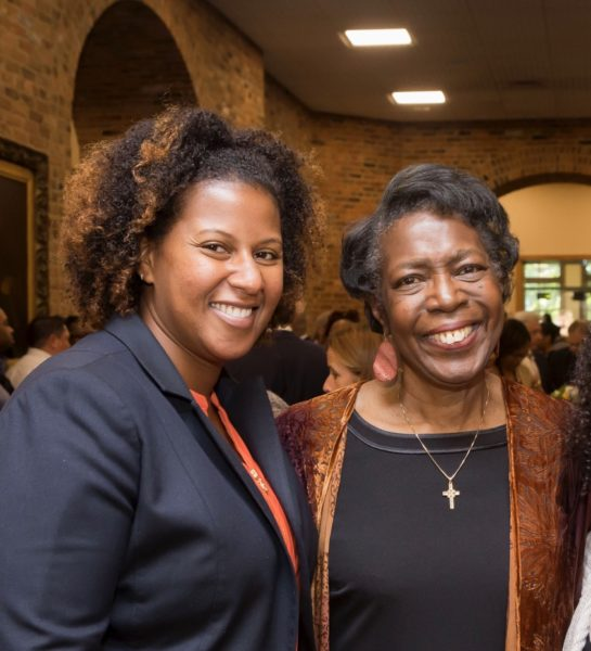 Renã  Robinson (left) and Dorothy J. Wingfield Phillips at the Vanderbilt Trailblazers reception in Kirkland Hall. (Vanderbilt University)