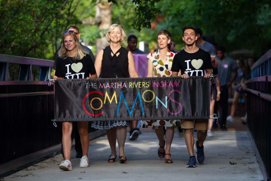 Interim Chancellor and Provost Susan R. Wente (second from left) leads the Founders Walk processional in August 2019. (Vanderbilt University)