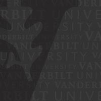 """Vanderbilt """"V"""" oak leaf and acorn logo on a black background."""