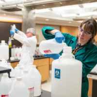 The Vanderbilt chemistry department made hand sanitizer from supplies the department had in storage, in an effort to help the greater community. (Joe Howell / Vanderbilt University)