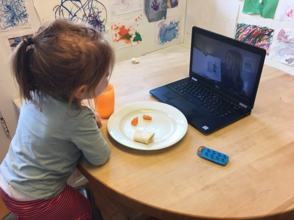 Teachers at The Acorn School continue to engage with Vanderbilt's youngest learners through Zoom, online singing activities, storytelling experiences and more (photo used with permission).