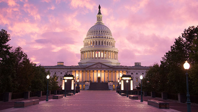 The U.S. Capitol Building at sunset.