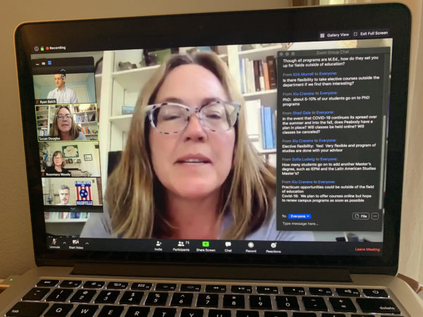 Professor Susan Douglas leads a Zoom session as part of Peabody's Virtual Welcome Weekend.