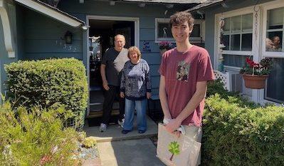 Connor delivering groceries
