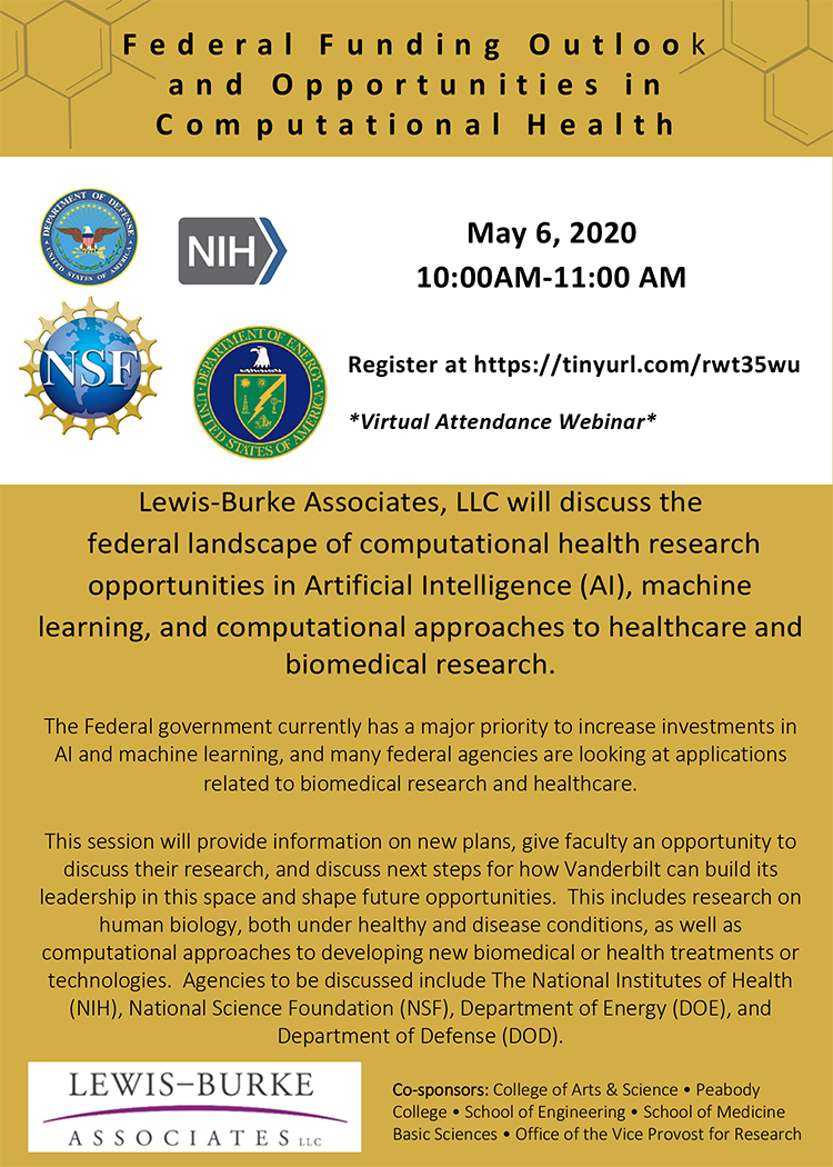 A webinar discussing federal funding for research in computational health is scheduled for Wednesday, May 6, from 10 to 11 a.m CST. The webinar will be broadcast remotely.