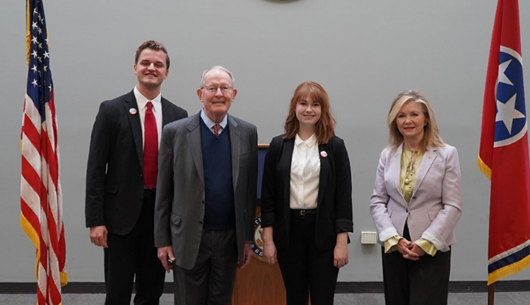 (L-r) Barton Christmas, Sen. Lamar Alexander (R-TN), Miranda Cross, and Sen. Marsha Blackburn (R-TN). (Vanderbilt University)