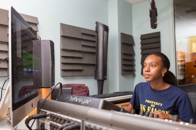 photo of student broadcasting from Sarratt Student Center