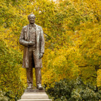 Statue Cornelius Vanderbilt, the university's founder. (John Russell / Vanderbilt)