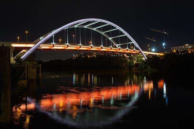 Nashville's Korean War Veterans Memorial Bridge. (Photo by Nathan Morgan for Vanderbilt University)