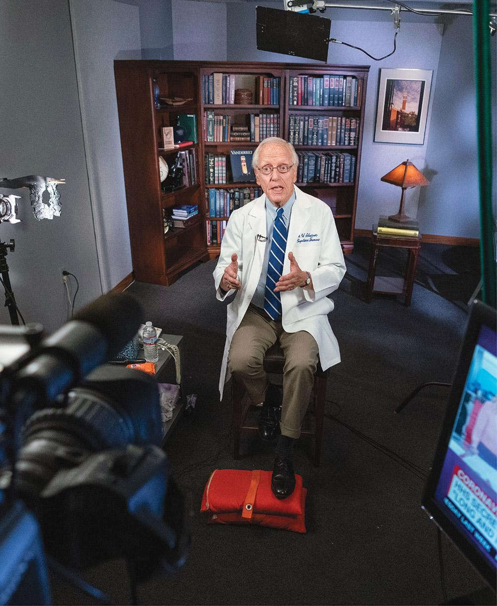 photo of William Schaffner being interviewed on camera from Vanderbilt's broadcast facility