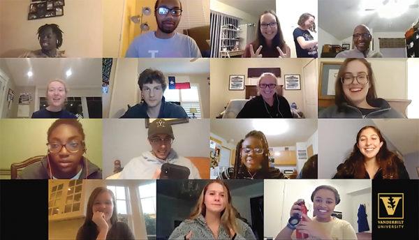 computer screen shot of students talking via a video conferencing platform