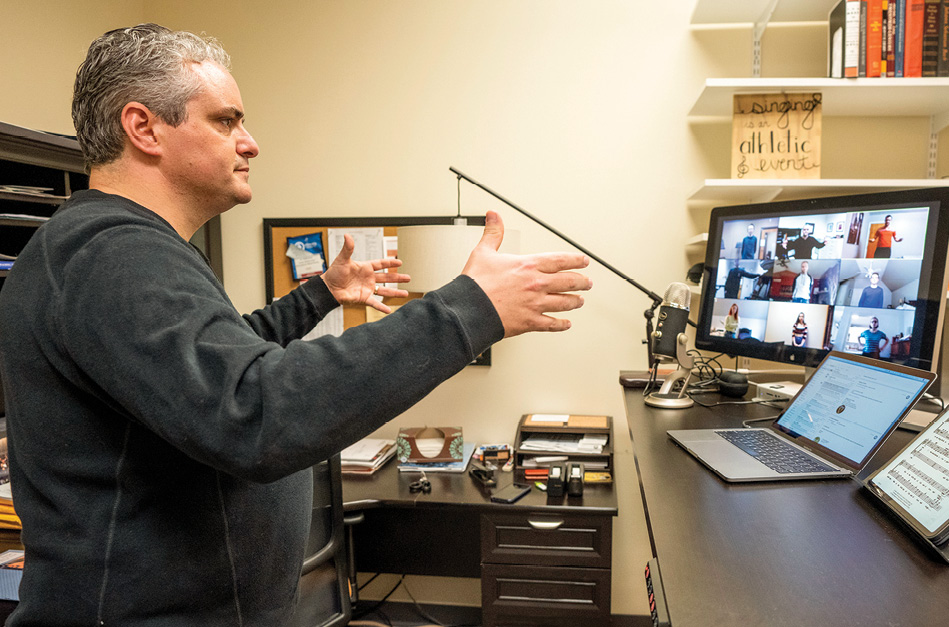 photo of Tucker Biddlecombe instructing a class on a computer screen