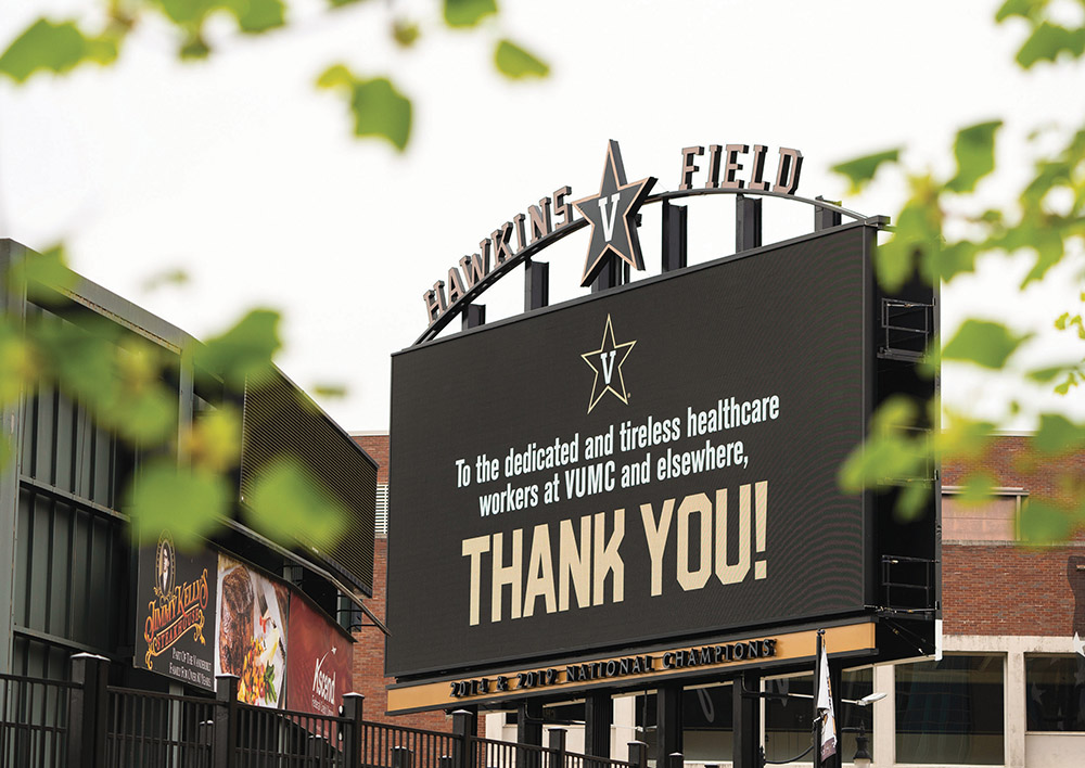 photo of video board with a thank-you message for health care workers