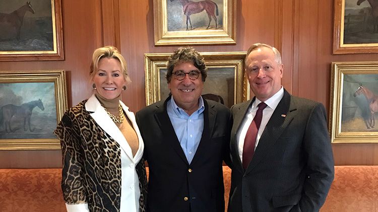Sarah and Ross Perot Jr. with Chancellor Emeritus Nicholas S. Zeppos (center).