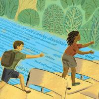 illustration of teacher reaching out to children hopscotching across desks