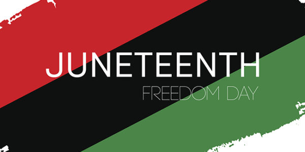 Hand draw Juneteenth Freedom Day flag in vector format. Flag with words Emantipation Day for poster. Juneteenth symbol background. Concept design.