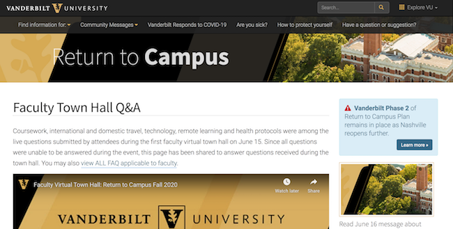 Faculty Town Hall Question and Answer webpage