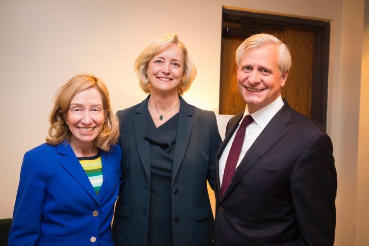 Interim Chancellor and Provost Susan R. Wente (center) hosted Pulitzer Prize-winning historians Doris Kearns Goodwin (left) and Jon Meacham, Carolyn T. and Robert M. Rogers Chair and Distinguished Visiting Professor of Political Science at Vanderbilt, for a Chancellor's Lecture Series event on Oct. 31, 2019. (Vanderbilt University)