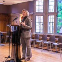 Interim Chancellor and Provost Susan R. Wente speaks at a reception for faculty marshals. (Vanderbilt University)