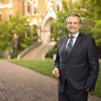 photo of Chancellor Daniel Diermeier outside Kirkland Hall