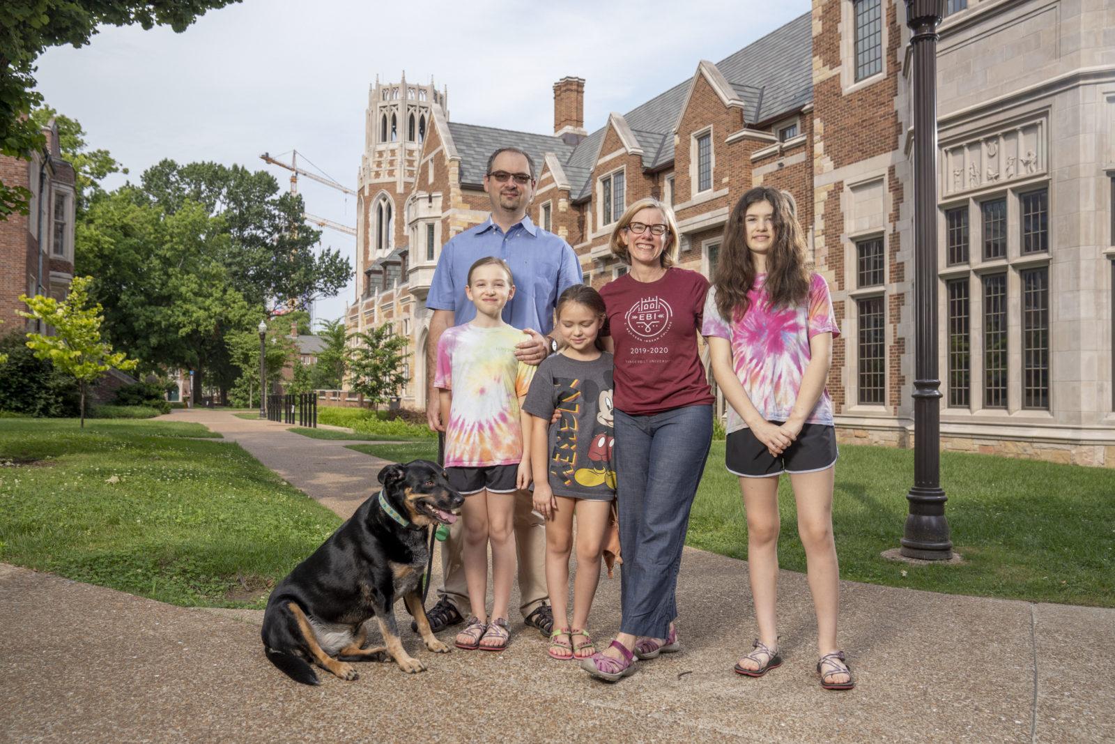Sarah Igo (second from right), faculty head of E. Bronson Ingram College, with her family. (John Russell/Vanderbilt)