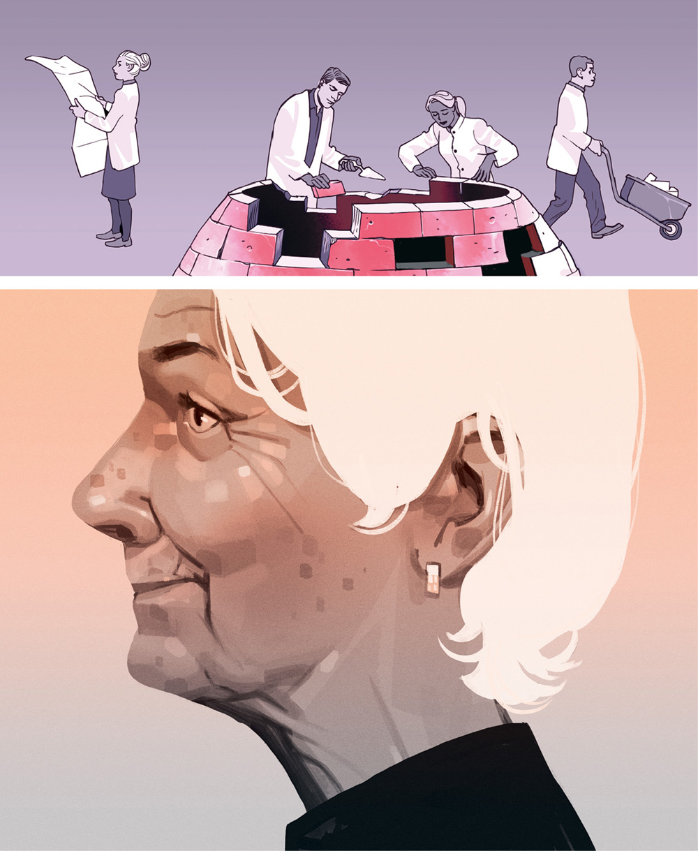 illustration of an elderly woman in profile with scientists rebuilding the top part of her head using bricks and mortar
