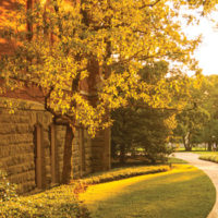photo of a path near Kirkland Hall at sunset