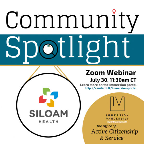 Immersion Vanderbilt: Community Spotlight Zoom webinar - Siloam Health