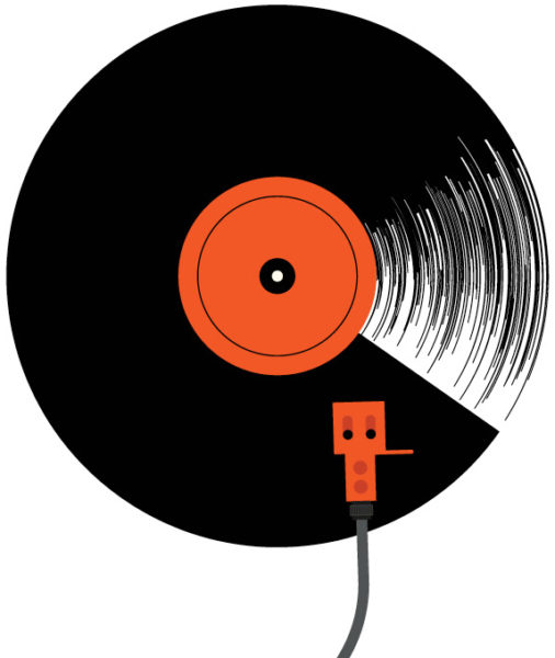 illustration of vinyl record and turntable needle