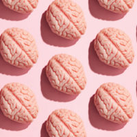 illustration of identical pink brain laid out in a pattern