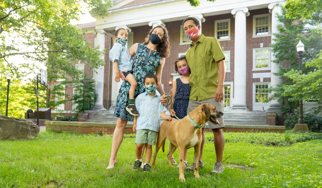 Associate Professor of History and faculty head of Memorial Hall Celso Castilho with his family, wife, Jessica, daughter Luiza, sons Paulo and Jack and dog Chancy.