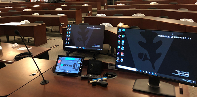 A number of large classrooms have been outfitted with new technology that captures audio and video of the instructor. (Vanderbilt University)